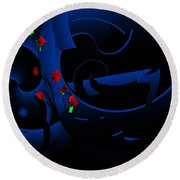 Blue Abstract Round Beach Towel by David Lane