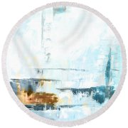 Blue Abstract 12m1 Round Beach Towel