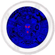 Blue Alien Mandala Round Beach Towel