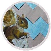 Blue And Beige Chevron Squirrel Round Beach Towel