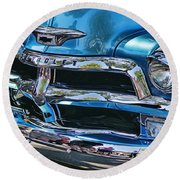 Blue And Chrome Chevy Pickup Front End Round Beach Towel