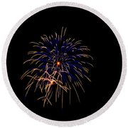 Blue And Gold Fireworks Round Beach Towel