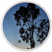 Blue And Gold Sunset Tree Silhouette I Round Beach Towel