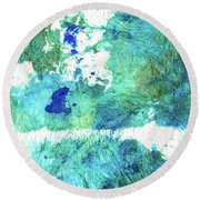 Blue And Green Abstract - Imagine - Sharon Cummings Round Beach Towel