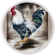Blue And Green Rooster Round Beach Towel