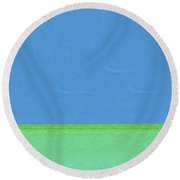 Blue And Green Split By Nixo Round Beach Towel