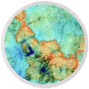 Blue And Orange Abstract - Time Dance - Sharon Cummings Round Beach Towel
