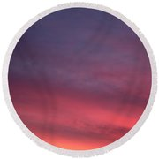 Blue And Orange Sunset Round Beach Towel