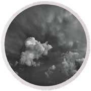 Blue And Pink Clouds In Black And White  Round Beach Towel