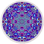 Blue And Pink Wallpaper Fractal 71 Round Beach Towel