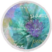 Blue And Purple Peony Round Beach Towel