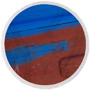 Blue And Red Abstract Round Beach Towel