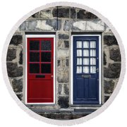 Blue And Red Doors Round Beach Towel