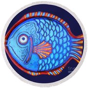 Blue And Red Fish Round Beach Towel
