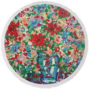 Blue And Red Flowers. Round Beach Towel