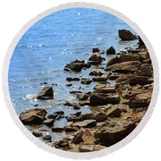 Blue And Tan Round Beach Towel