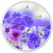 Blue And Violet Cornflowers Round Beach Towel