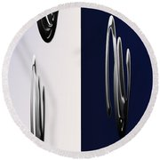 Blue And White Abstract Round Beach Towel