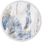 Blue And White Art - Ice Castles - Sharon Cummings Round Beach Towel