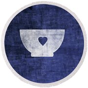 Blue And White Bowl- Art By Linda Woods Round Beach Towel