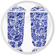 Blue And White Chinoiserie Vases Round Beach Towel