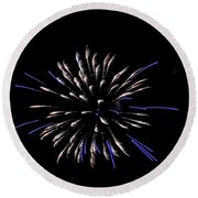 Blue And White Fireworks Round Beach Towel