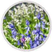 Blue And White Hyacinth Flowers Round Beach Towel