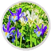 Blue And White Iris Round Beach Towel
