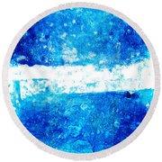 Blue And White Modern Art - Two Pools 2 - Sharon Cummings Round Beach Towel