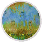 Blue And Yellow Abstract Round Beach Towel