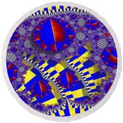Blue And Yellow Bits 2 Round Beach Towel