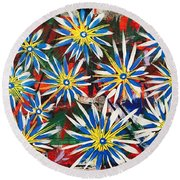 Blue And Yellow Round Beach Towel