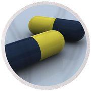 Blue And Yellow Medication Capsules Round Beach Towel