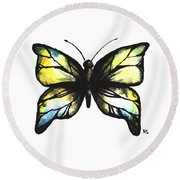 Blue And Yellow Watercolor Butterfly Round Beach Towel