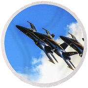 Blue Angel Fly By Round Beach Towel