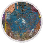 Blue Angel Watches Over Me Round Beach Towel by Angela L Walker