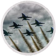Blue Angels In Formation Round Beach Towel