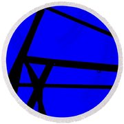 Blue Angle Abstract Round Beach Towel