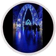 Blue Archways Of London Round Beach Towel