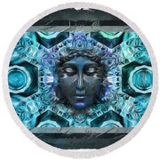 Blue Atheahon  Round Beach Towel