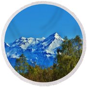 Blue Autumn Sky Round Beach Towel