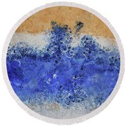 Blue Beach Bubbles Round Beach Towel