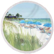 Blue Beach Umbrellas, Crescent Beach, Siesta Key - Wide Round Beach Towel