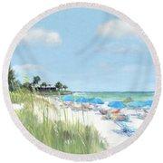 Blue Beach Umbrellas, Point Of Rocks, Crescent Beach, Siesta Key Round Beach Towel