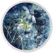 Blue Beauties Round Beach Towel