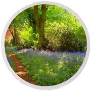 Blue Bells  Flower Round Beach Towel