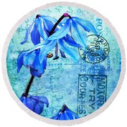 Blue Bells On Vintage 1936 Postcard Round Beach Towel