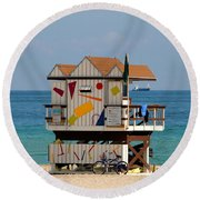 Blue Bicycle Round Beach Towel by David Lee Thompson