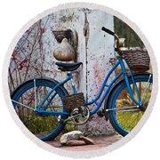 Blue Bicycle Round Beach Towel