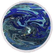 Blue Bird Abstract Round Beach Towel